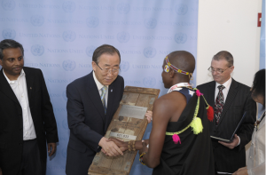 Julius Arile presents Small Arms petition to UN Gen-Sec Ban-Ki Moon