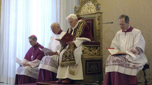 Pope Benedict XVI at a consistory at the Vatican today