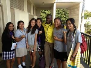 Makau making friends at Damien Memorial High School in Honolulu during The Hapalua, Hawaii's Half Marathon 2013