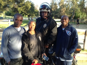 LAPD Team members (l-r) Craig Henry, Alma Mark, Joe Pollard (on moto), and Clifton Frazier