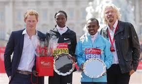 Prince Harry and Richard Branson with London Champs Priscah Jeptoo & Tsegay Kebede