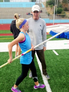 McKenna Brown taking instruction from Dad, Chris
