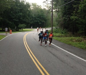 Meb (orange) leads in mile 2 at B2B