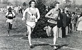 Defending champ Nick Rose (r) battles Craig Virgin at 1975 NCAA XC at Penn State (Virgin wins, Rose 2nd)