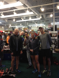 BRC store manager Greg Welch; Brooks rep Kent Adamson; buyer Henry Guzman; sales associate Sarah Rebick; and RnR Denver race director Alan Culpepper at Boulder Running Company