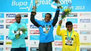 2013 Great North podium, Mo Farah, Keninise Bekele, Haile G.