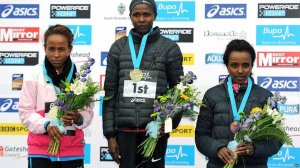 Great North podium (l-r) Meseret Defar, Priscah Jeptoo, Tirunesh Dibaba