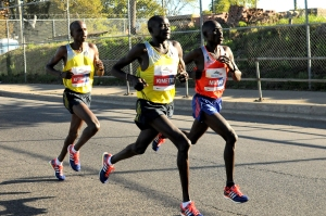 At 22 miles - Kimetto & Mutai pulling free of Kitwara