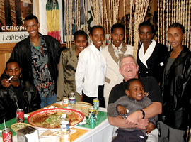 Mike at Red Sea Restaurant with Ethiopian runners