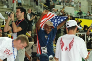 Abdi leading the cheers in Osaka 2007