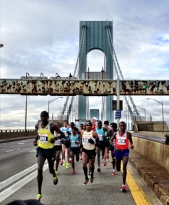 5:27 opening mile to the crest of the Verrazano Narrows Bridge, 4:40 second mile down into Brooklyn