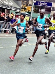 Kebede & Uganda's Jackson Kiprop in lock-step up First Ave.