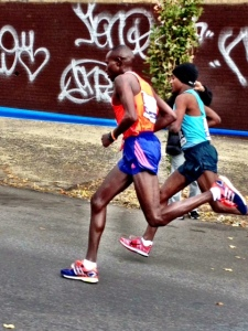 Mutai & Kebede, a couple of Bronx Bombers.  22 miles in 1:47:49, last two miles in 9:36