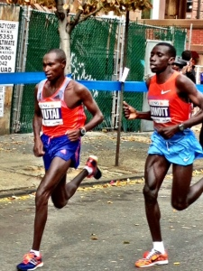 Mutai presses, Biwott flexes. Biwott beat Mutai at Feb. 2013 RAK Half Marathon, 58:56 to 58:58, but this ain't no half.