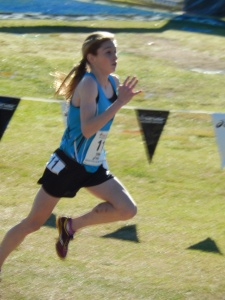 Champion Tessa Barrett, Waverly, Pennsylvania senior sprinting to the tape