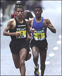 Khalid winning 2002 London Marathon versus Haile and Tergat in a world record 2:05:38