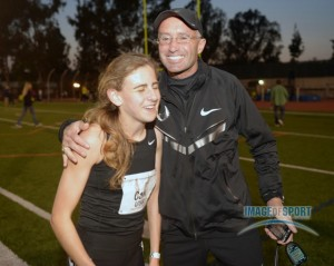 Coach Salazar all smiles after Mary Cain sets American high school 1500m record 4:04.62 at at the 2013 USATF Occidental High Performance Meet in May.