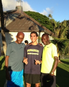Abdi Abdirahman & Mbarek Hussein with Hawaii state 3000m champion Jac Hebert