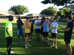 Coach Todd with Punahou team, Mbarek & Abdi