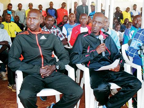 Wilson Kipsang (left) & Wesley Korir at PAAK formation (photo: Kevin Tunoi, Standard)