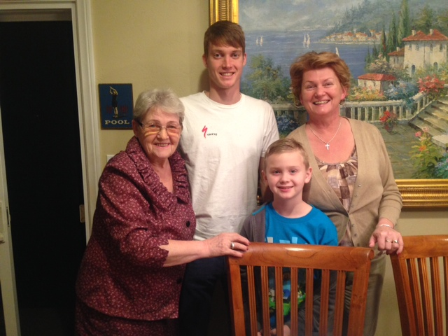 Grandma, Lukas, brother Noah, Mom Raza on recent visit