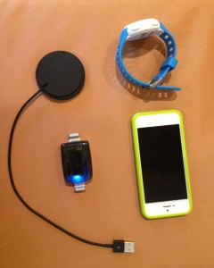 Pegasus sensor, charger, Iphone and smart watch