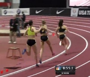 Brooks athlete Gabby Grunewald passes Nike Athlete Jordan Hasay in women's 3000.