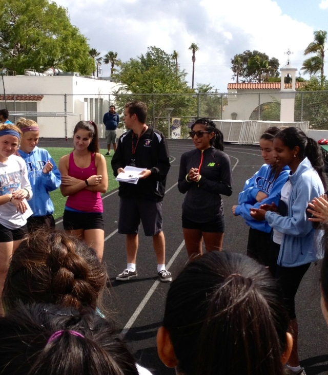 Brenda Martinez speaking to St. Augustine Prep girls team in San Diego