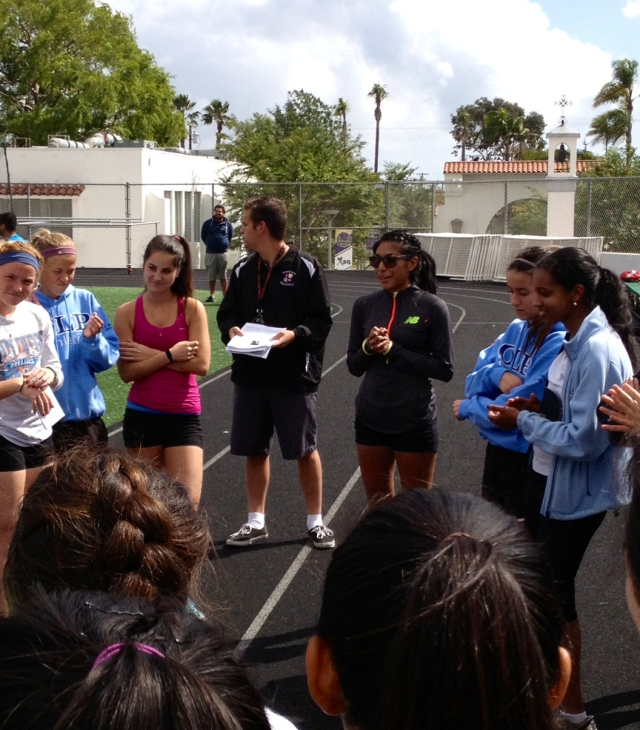 Brenda Martinez speaking to St. Augustine Prep girls team in San Diego