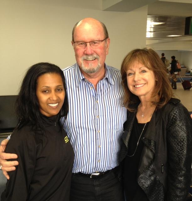 Yordanos Asgedom (Meb's wife), with John & Karen Odom at Logan International