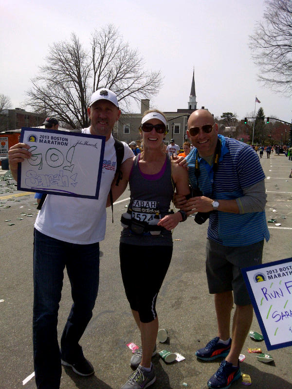 Donny Odom, girlfriend Sarah & brother-in-law Matt Reis in Wellesley at Boston Marathon 2013