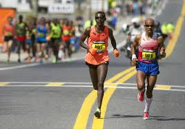 Meb and Josephat Boit pull free after 8 miles