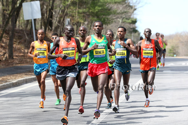 Dennis Kimetto urging Markos Geneti to come ahead