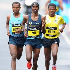7 Olympic gold medals among Bekele (3), Farah (2) and Haile (2) - at 2013 Bupa Great North Run, won by Kenisa over Mo with Haile in 3rd in new master's world record.