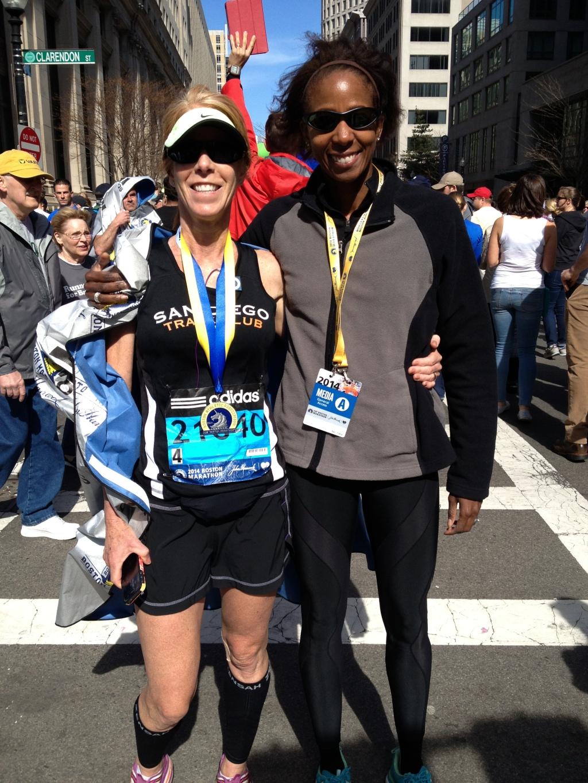 Boston Marathoner Marla Nelson with Coach Toya