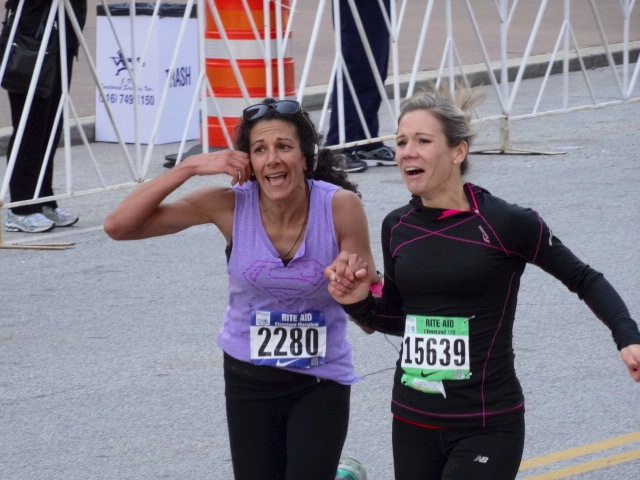Call Me! says #2280 Stella Balzli of New Castle, Pa. as she finishes her marathon in 4:45:27 with 10Ker Christine Shearer of New Wilmington, Pa. (51:39)
