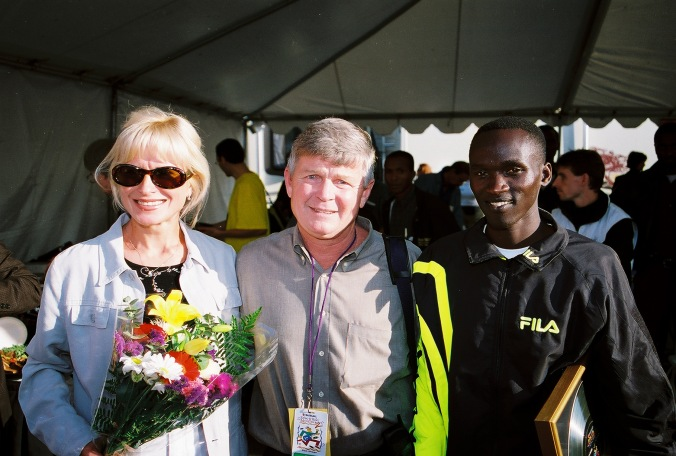 Late, great Mike Long, Elite Racing's legendary athlete recruiter with early RnR winners Irina Bogacheva and Philip Tarus