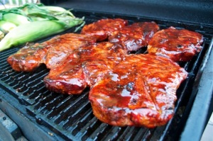 Pork Steaks on the grill