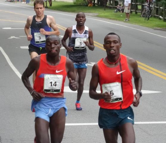 Kibet and Karoki pull away on Old Ocean House Road after 13:43 5K, Ben True and Patrick Makau behind