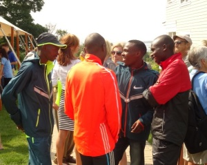 Defending champ Micah Kogo (right) with challengers Makau (orange), Karoki (blue) and Emmanuel Bett (red)
