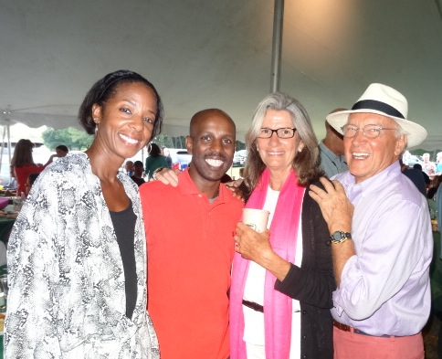 Toya with Hawi Keflezighi and brother Meb's host family Bill & Deena DeSena at Lobster Bake