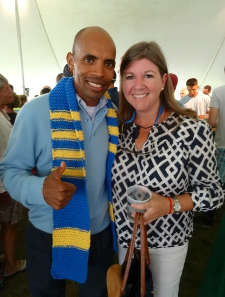 Boston Marathon champion Meb Keflezghi with Julie Nickerson