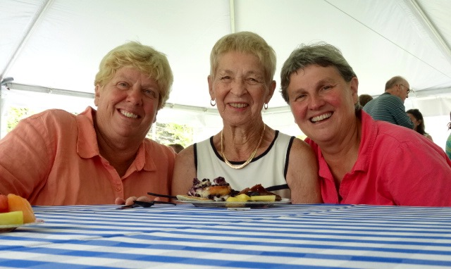 B2B's oldest finisher Dotti Gray, 89, of Kirkwood, Missouri with daughter Mary (left) and daughter-in-law Karen Bauer both of whom live in Cape Elizabeth