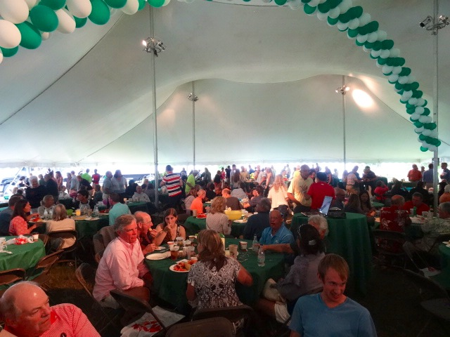Big tent at post-race Lobster Bake