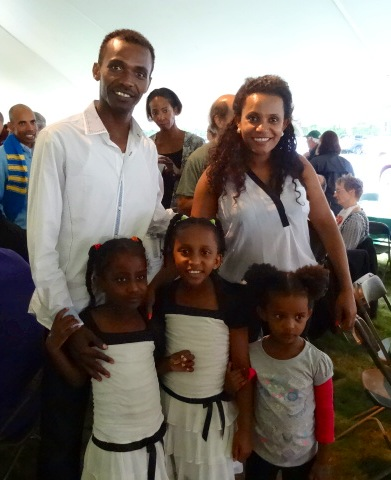 Ethiopian star Markos Geneti with his family who he hadn't seen since April