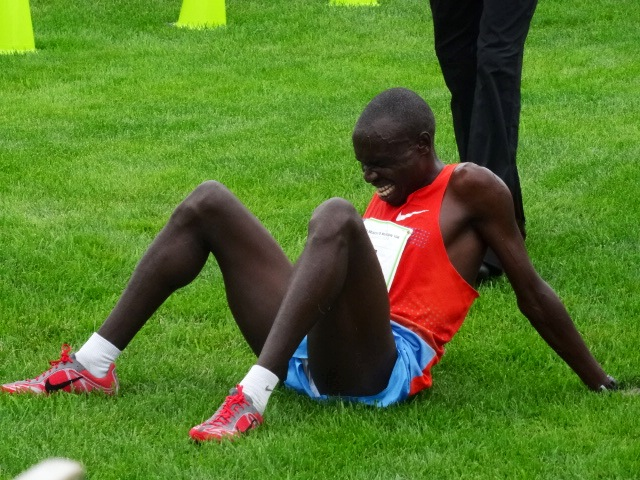 Stephen Kibet done in by his effort, second place for the second time at B2B 27:43 a new PR.