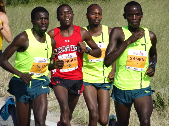 The race settles into a Kenyan fight with eventual champion Stephen Sambu (31:46) controlling from 800m over Emmanuel Bett (3rd, 33:01), Kennedy Kithuka (DNF), and defending champion Micah Kogo (2nd, 32:31)