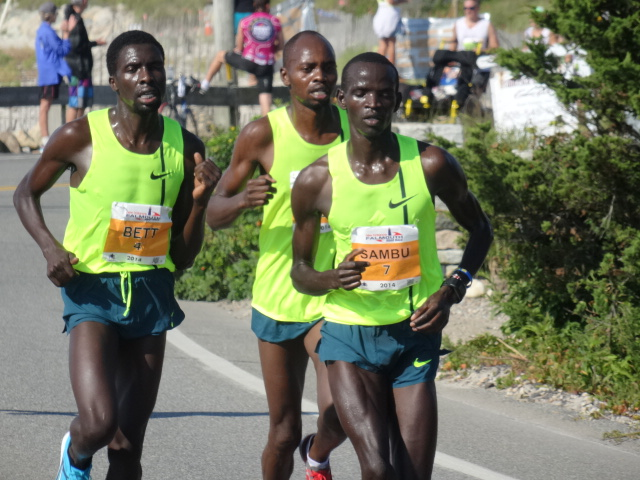 Kithuka dispatched with 4:36 second mile (9:14). Sambu, Bett and Kogo remain.