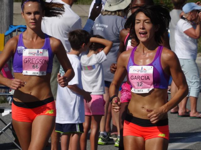 Falmouth Milers Heidi Gregson, Stephanie Garcia & Kimarra McDonald feel the draft as Sambu flies by
