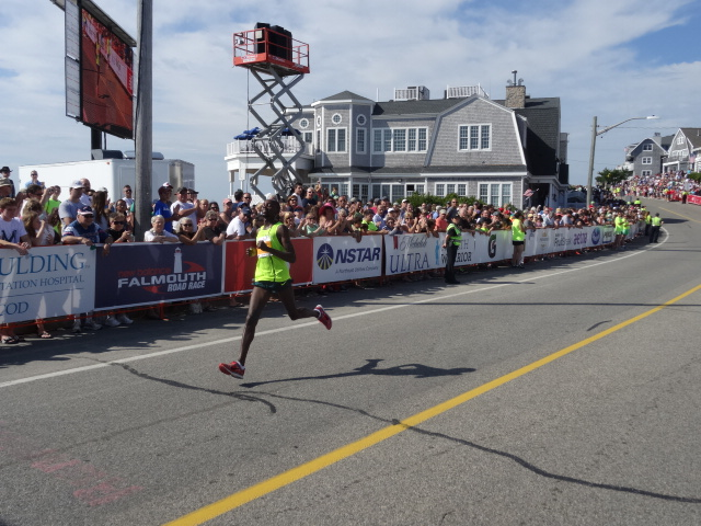 Sambu was so fast, 31:46, sixth best time in Falmouth history, that I missed his finish while doing the announcing. So I got Kogo in second some 45-seconds in arears, the largest margin of victory since BIll Rodgers beat Marty Liquori by 69-seconds in 1974.  Not a record an event looks to break.